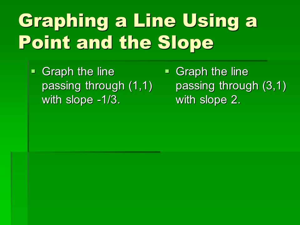 Graphing a Line Using a Point and the Slope  Graph the line passing through (1,1) with slope -1/3.