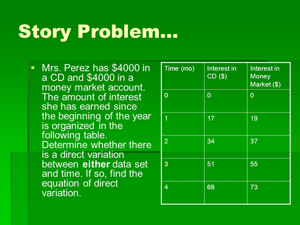 Story Problem…   Mrs. Perez has $4000 in a CD and $4000 in a money market account. The amount of interest she has earned since the beginning of the