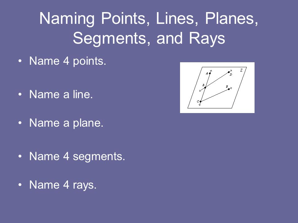 Naming Points, Lines, Planes, Segments, and Rays Name 4 points.