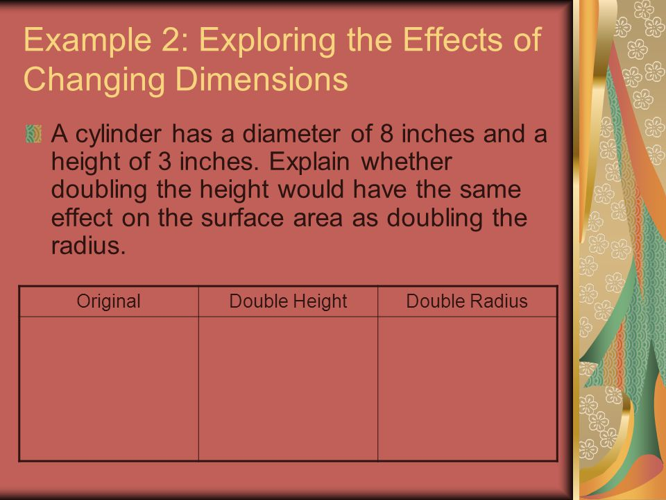 Example 2: Exploring the Effects of Changing Dimensions A cylinder has a diameter of 8 inches and a height of 3 inches. Explain whether doubling the h