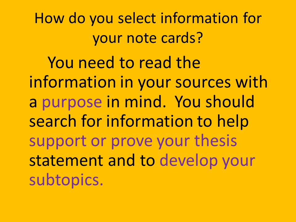 "thesis index cards Lesson 28 – thesis statement: group presentations ""often a student begins to write his essay before he has arrived at what might be called a starting."