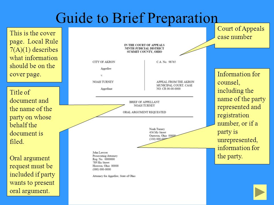 Guide to Brief Preparation This is the cover page.