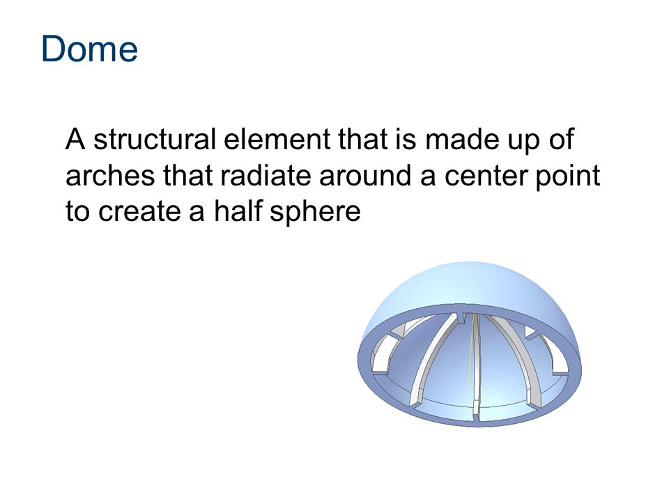 Dome A structural element that is made up of arches that radiate around a center point to create a half sphere
