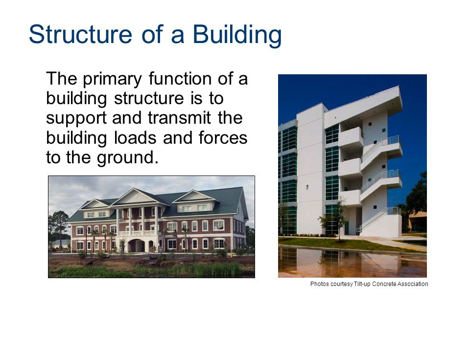 Structure of a Building The primary function of a building structure is to support and transmit the building loads and forces to the ground. Photos co