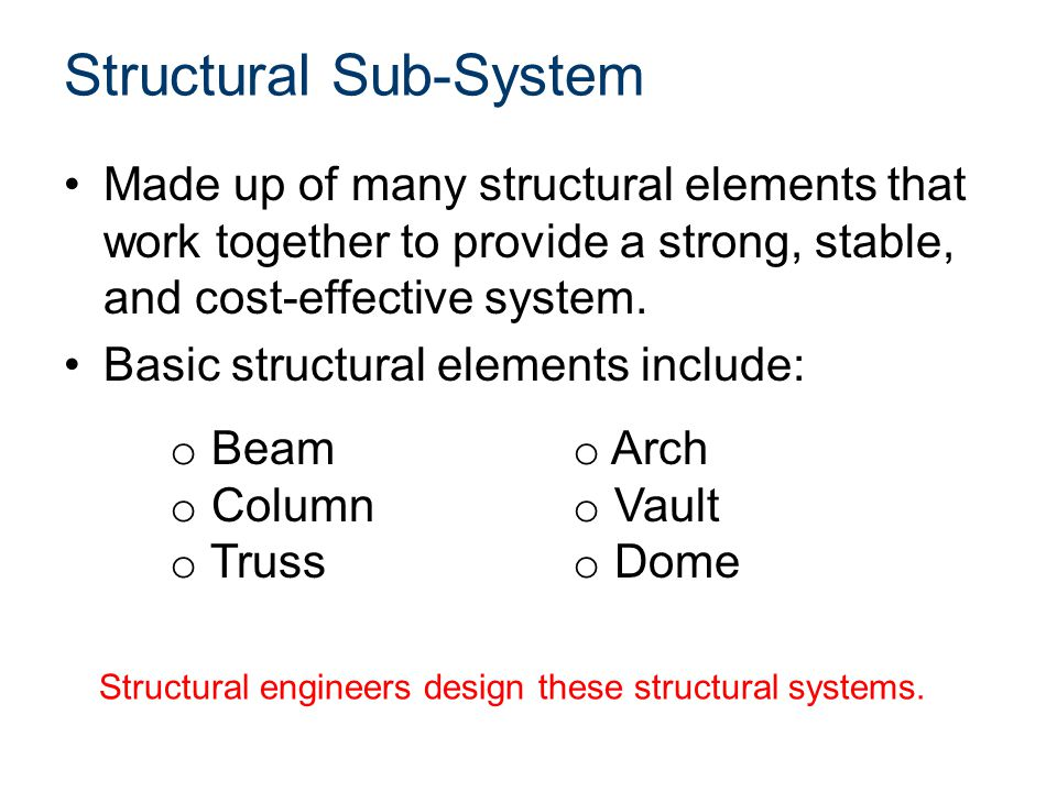Design Process The same design process used by engineers and designers in other disciplines can be used to design structural systems.