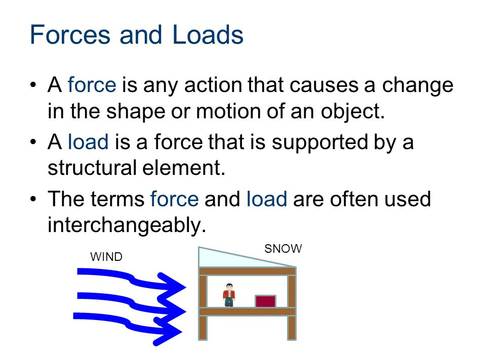 Forces and Loads A force is any action that causes a change in the shape or motion of an object. A load is a force that is supported by a structural e