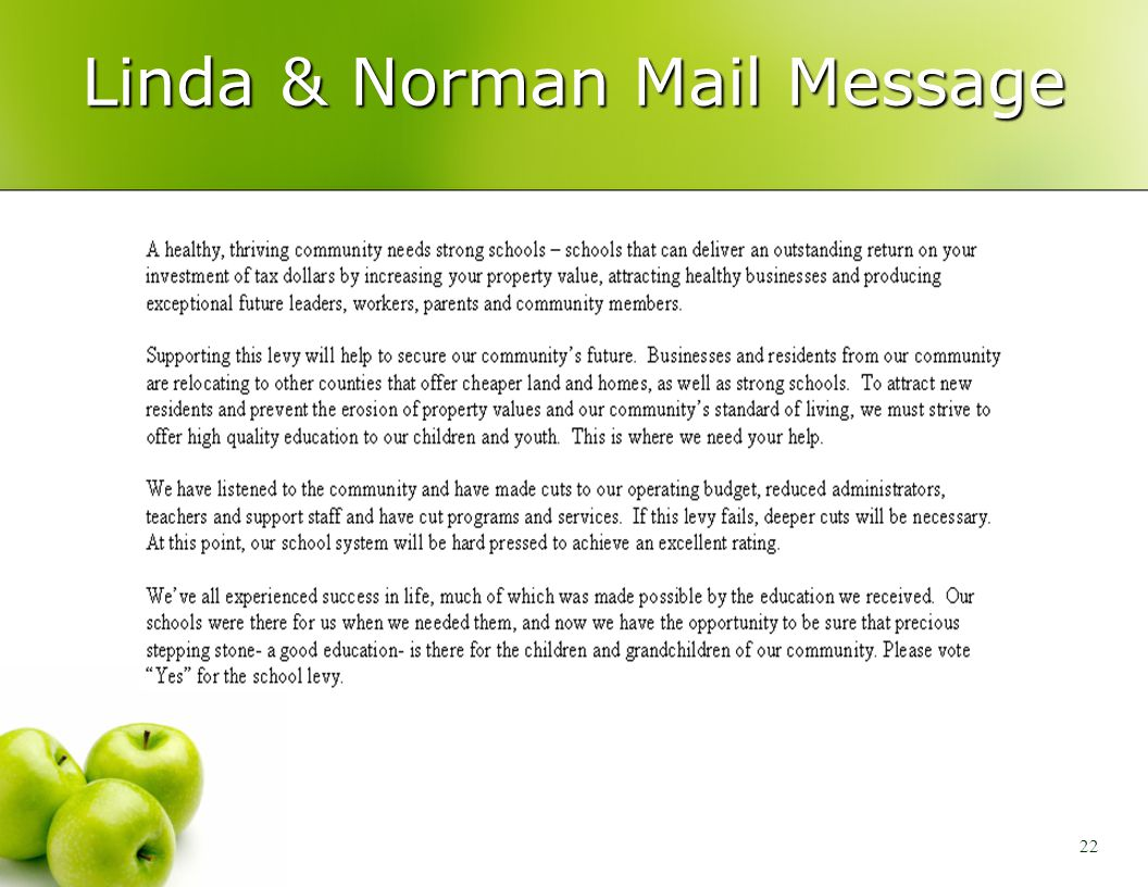 22 Linda & Norman Mail Message