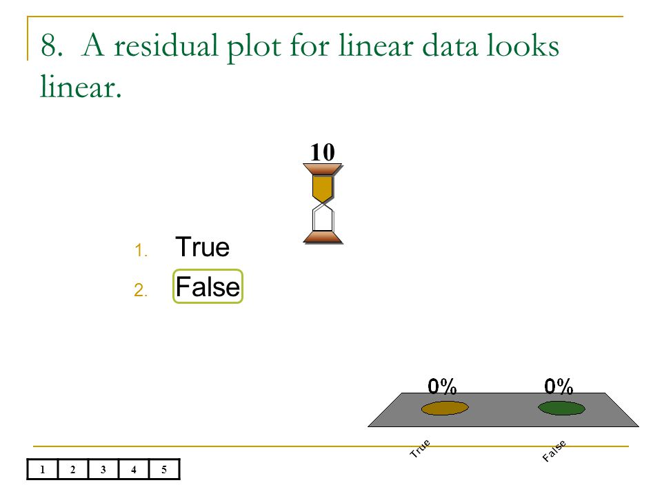 8. A residual plot for linear data looks linear. 1. True 2. False 10 12345