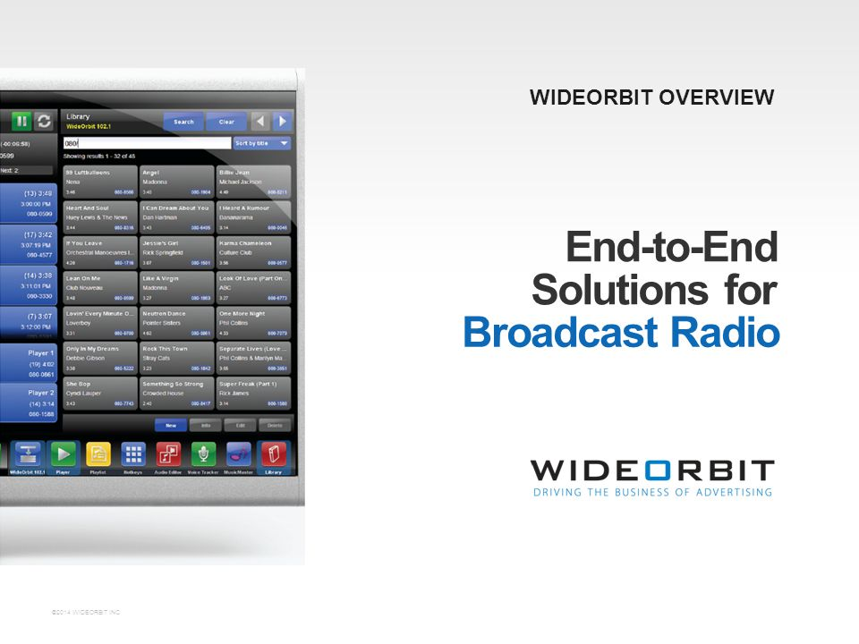 ©2014 WIDEORBIT INC. End-to-End WIDEORBIT OVERVIEW Solutions for Broadcast Radio