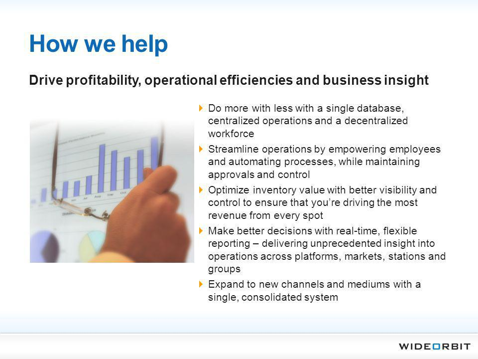 How we help Do more with less with a single database, centralized operations and a decentralized workforce Streamline operations by empowering employe
