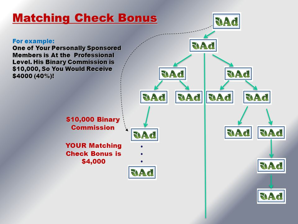 $10,000 Binary Commission  Matching Check Bonus For example: One of Your Personally Sponsored Members is At the Professional Level. His Binary C