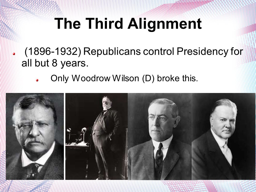 The Third Alignment (1896-1932) Republicans control Presidency for all but 8 years. Only Woodrow Wilson (D) broke this.
