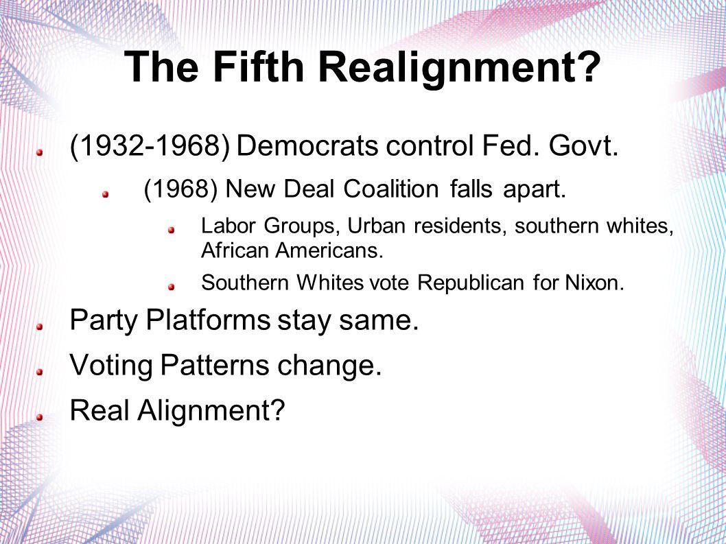 The Fifth Realignment. (1932-1968) Democrats control Fed.