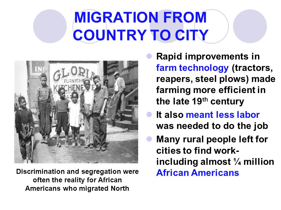 MIGRATION FROM COUNTRY TO CITY Rapid improvements in farm technology (tractors, reapers, steel plows) made farming more efficient in the late 19 th ce