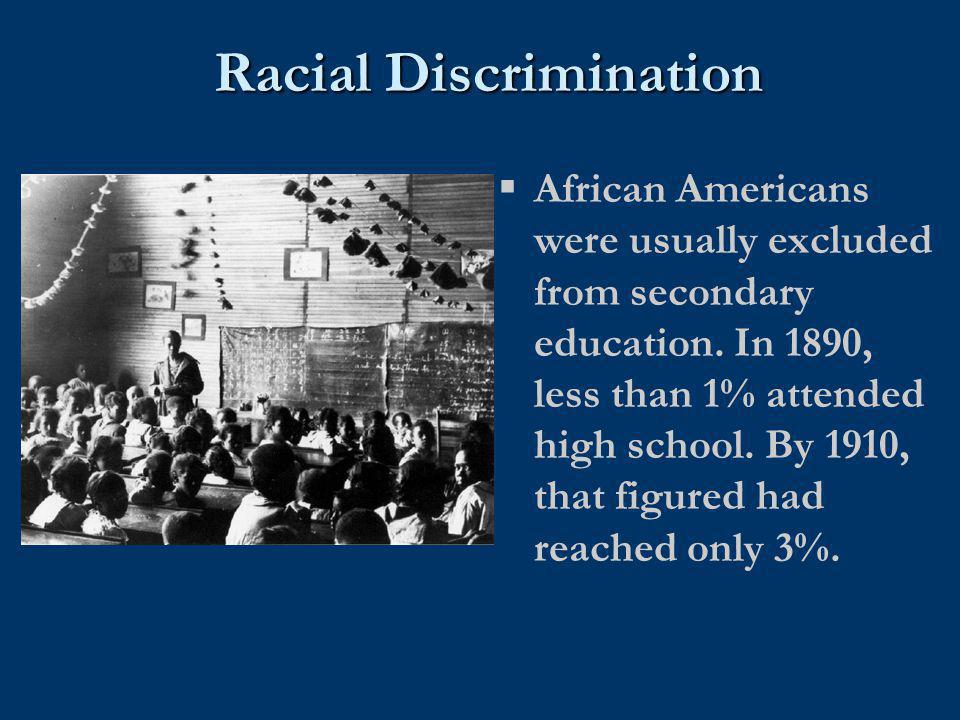 Racial Discrimination  African Americans were usually excluded from secondary education. In 1890, less than 1% attended high school. By 1910, that fi