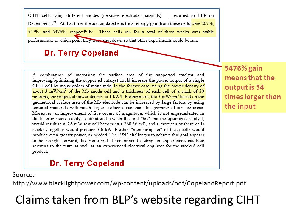 Claims taken from BLP's website regarding CIHT Source: http://www.blacklightpower.com/wp-content/uploads/pdf/CopelandReport.pdf 5476% gain means that the output is 54 times larger than the input