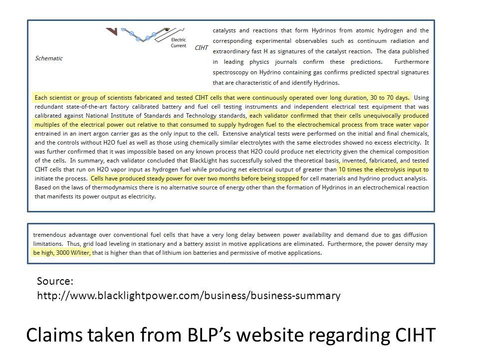 Claims taken from BLP's website regarding CIHT Source: http://www.blacklightpower.com/business/business-summary