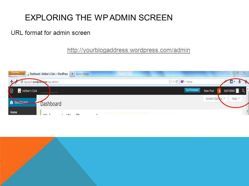EXPLORING THE WP ADMIN SCREEN URL format for admin screen http://yourblogaddress.wordpress.com/admin The Admin Bar >