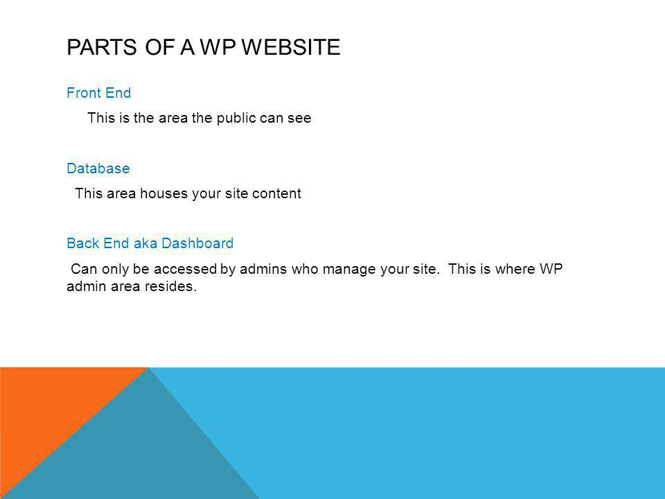 PARTS OF A WP WEBSITE Front End This is the area the public can see Database This area houses your site content Back End aka Dashboard Can only be accessed by admins who manage your site.