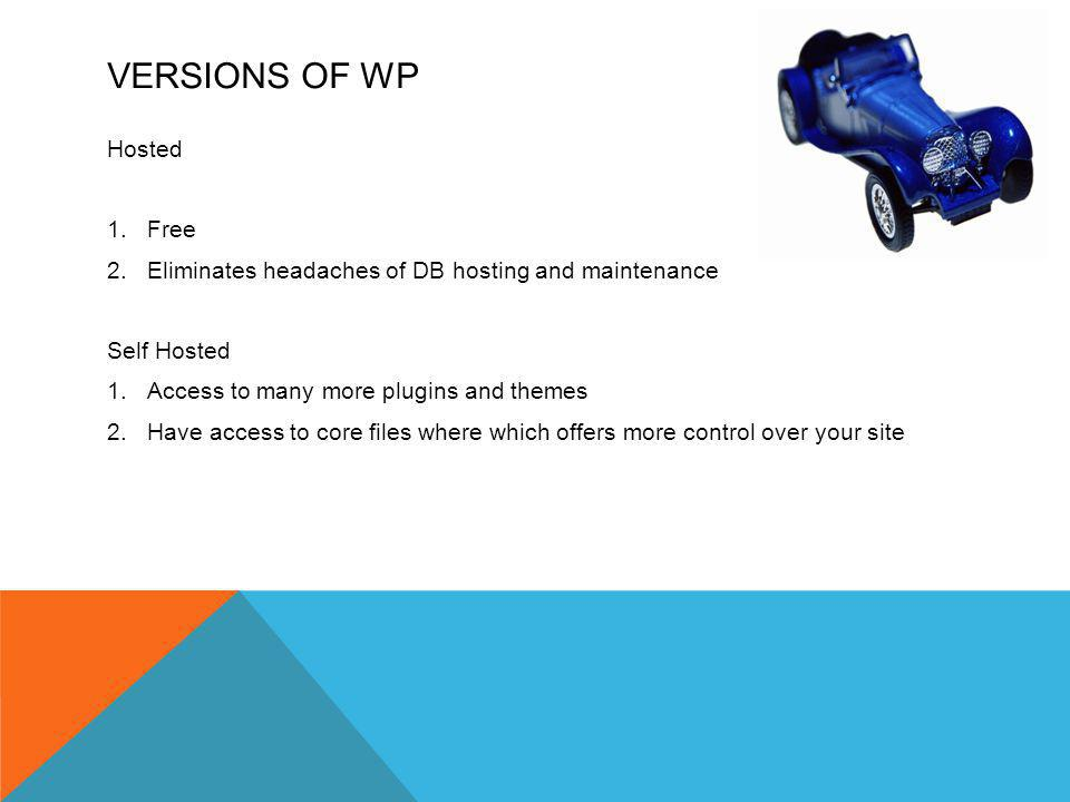 VERSIONS OF WP Hosted 1.Free 2.Eliminates headaches of DB hosting and maintenance Self Hosted 1.Access to many more plugins and themes 2.Have access to core files where which offers more control over your site