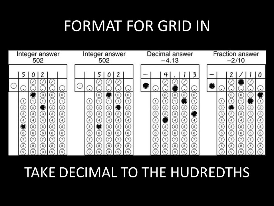 FORMAT FOR GRID IN TAKE DECIMAL TO THE HUDREDTHS