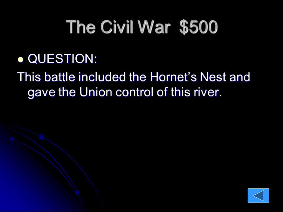 The Civil War $500 QUESTION: QUESTION: This battle included the Hornet's Nest and gave the Union control of this river.