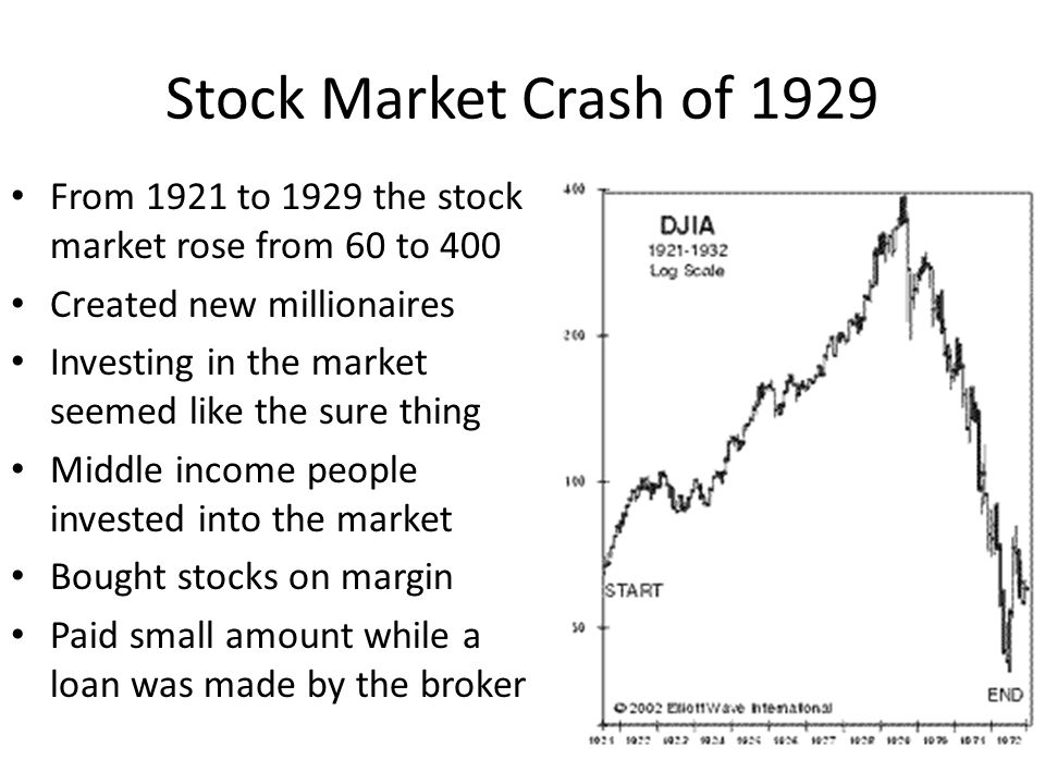 Stock Market Crash of 1929 From 1921 to 1929 the stock market rose from 60 to 400 Created new millionaires Investing in the market seemed like the sur