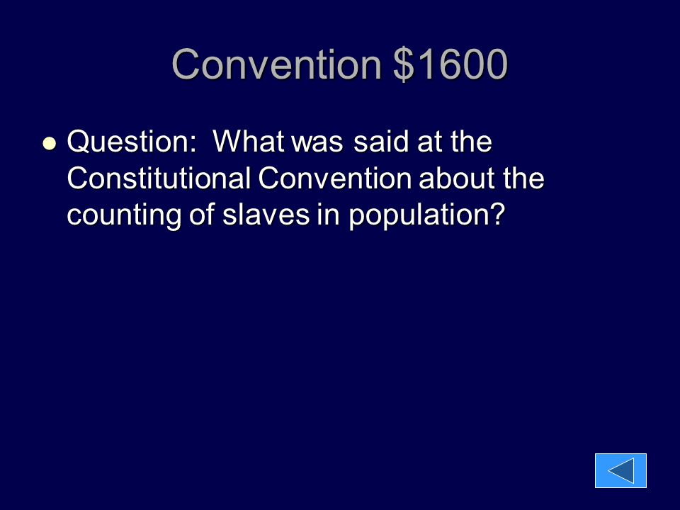 Convention $1600 Question: What was said at the Constitutional Convention about the counting of slaves in population? Question: What was said at the C