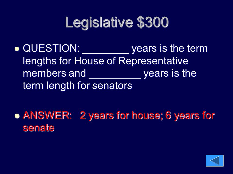 Legislative $400 QUESTION: ______________ is the leader of the House of Representatives and _____________ is the leader of the senate and breaks ties there and the _____________ is in charge when the Vice President is not there.