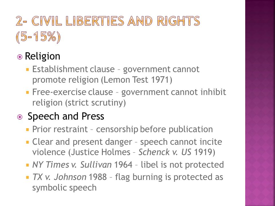  Selective Incorporation – Court has used the 14 th amendment to apply the Bill of Rights to the states  Due process, double jeopardy, Miranda warnings, exclusionary rule, good-faith exception  9 th Amendment – not all rights have been listed in the Constitution  Privacy, birth control, homosexuality, abortion