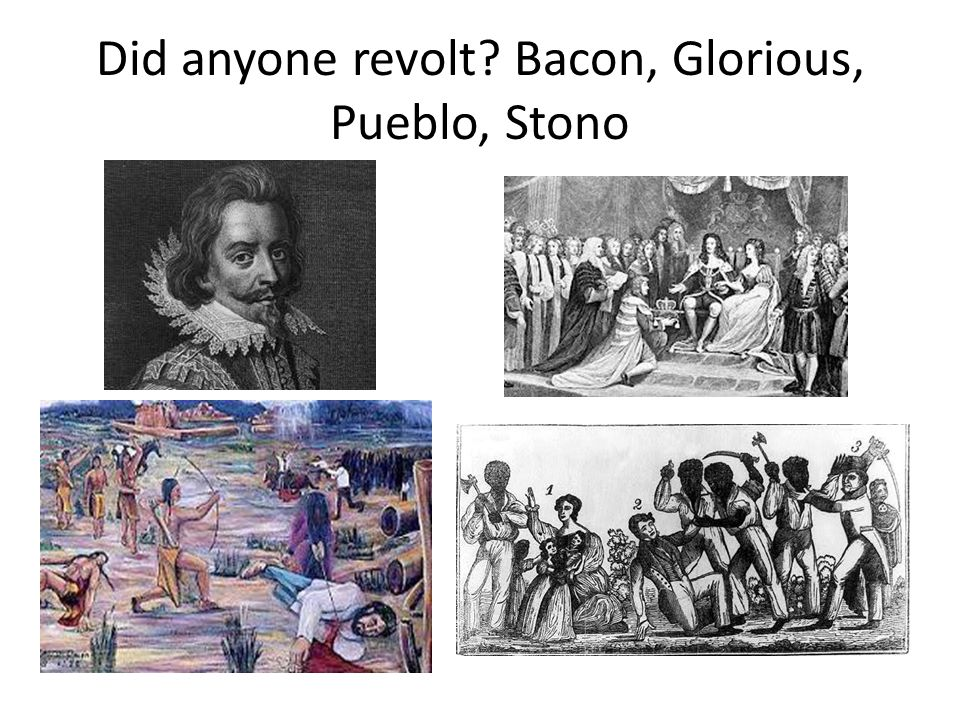 Did anyone revolt Bacon, Glorious, Pueblo, Stono