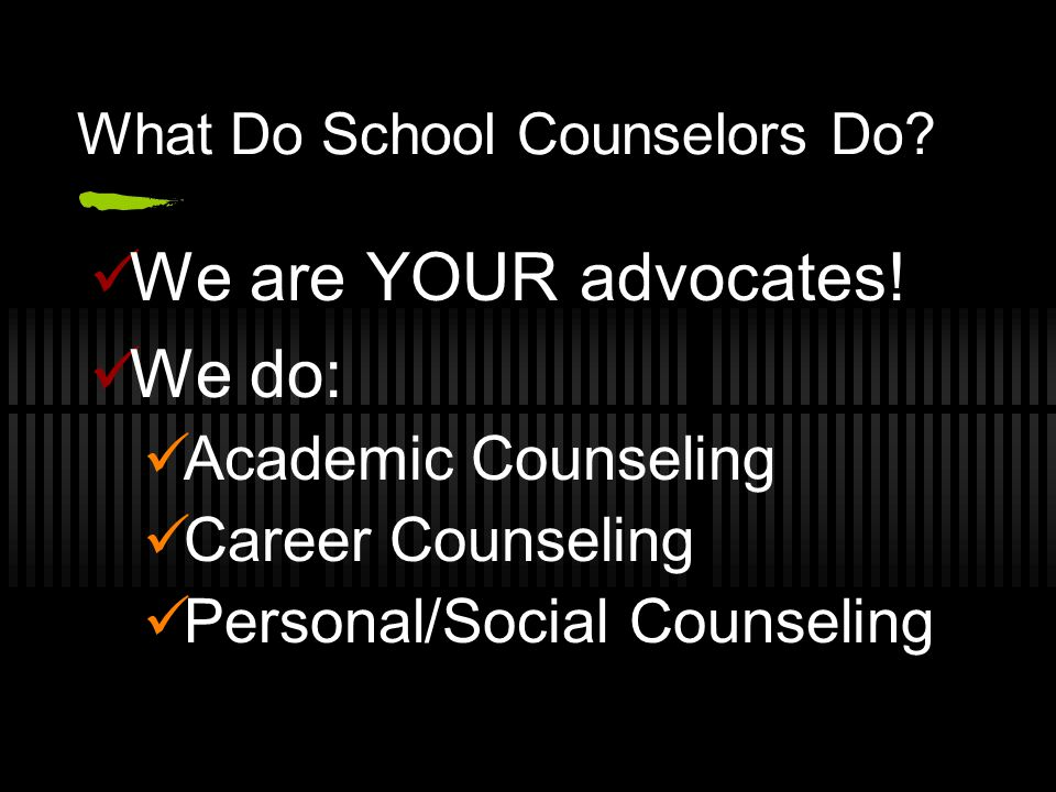 What Do School Counselors Do? We are YOUR advocates! We do: Academic Counseling Career Counseling Personal/Social Counseling