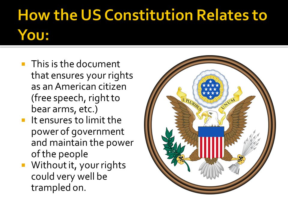  This is the document that ensures your rights as an American citizen (free speech, right to bear arms, etc.)  It ensures to limit the power of gove