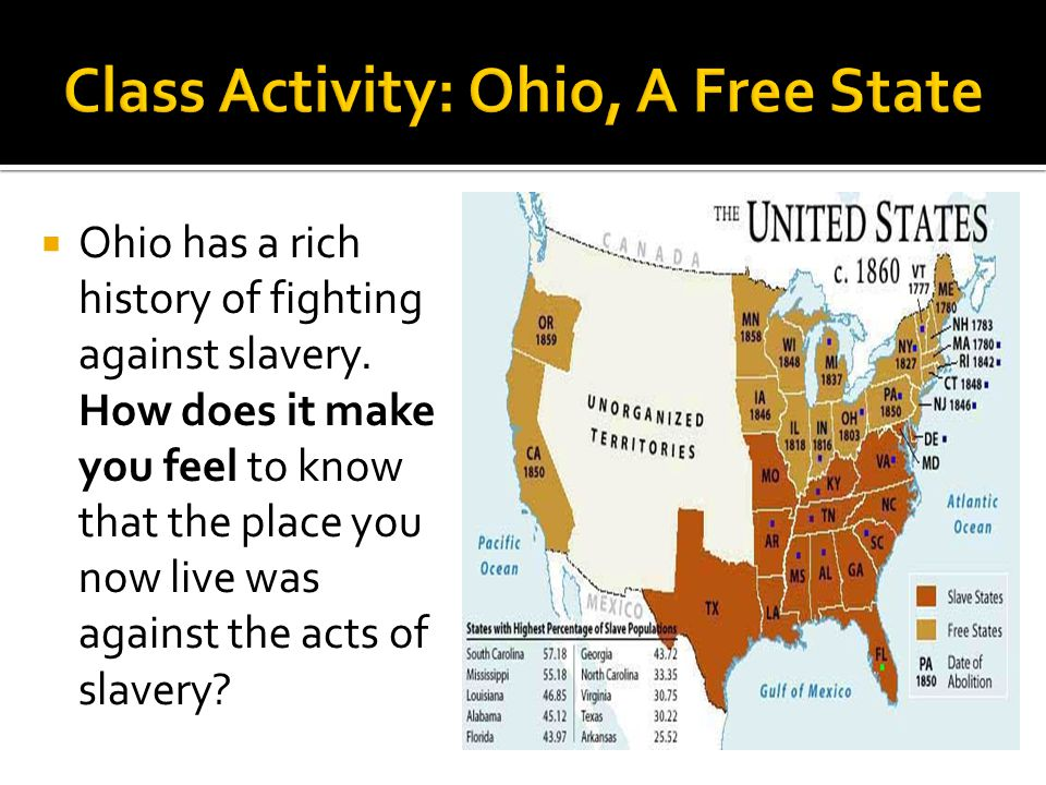  Ohio has a rich history of fighting against slavery. How does it make you feel to know that the place you now live was against the acts of slavery?