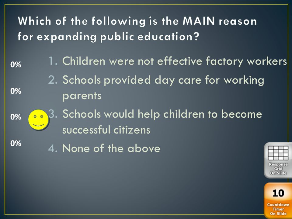1.Children were not effective factory workers 2.Schools provided day care for working parents 3.Schools would help children to become successful citizens 4.None of the above 10