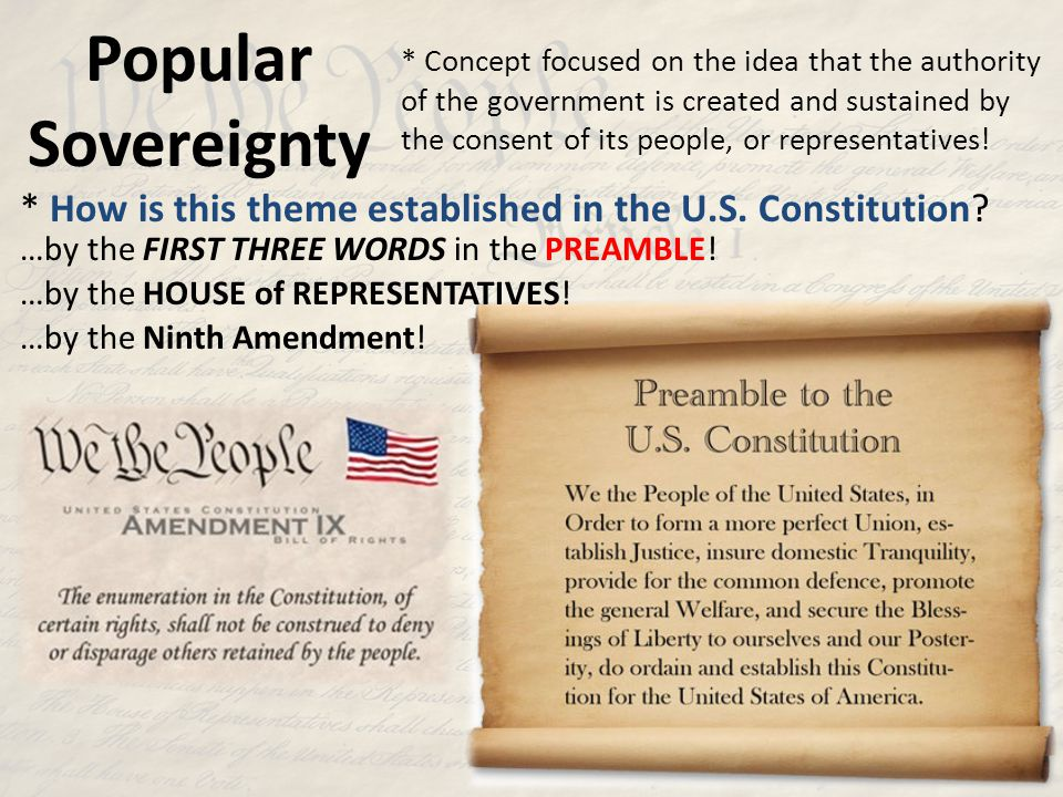 Popular Sovereignty * Concept focused on the idea that the authority of the government is created and sustained by the consent of its people, or repre