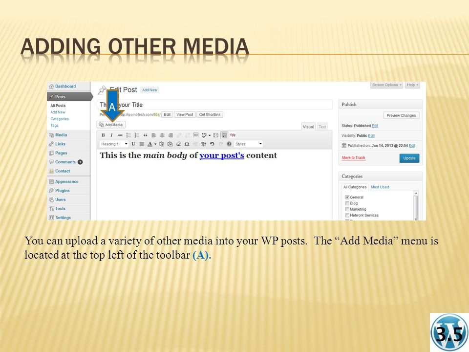 You can upload a variety of other media into your WP posts.