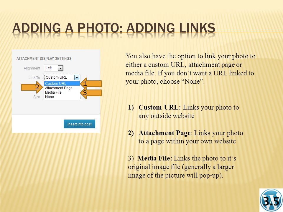 You also have the option to link your photo to either a custom URL, attachment page or media file.