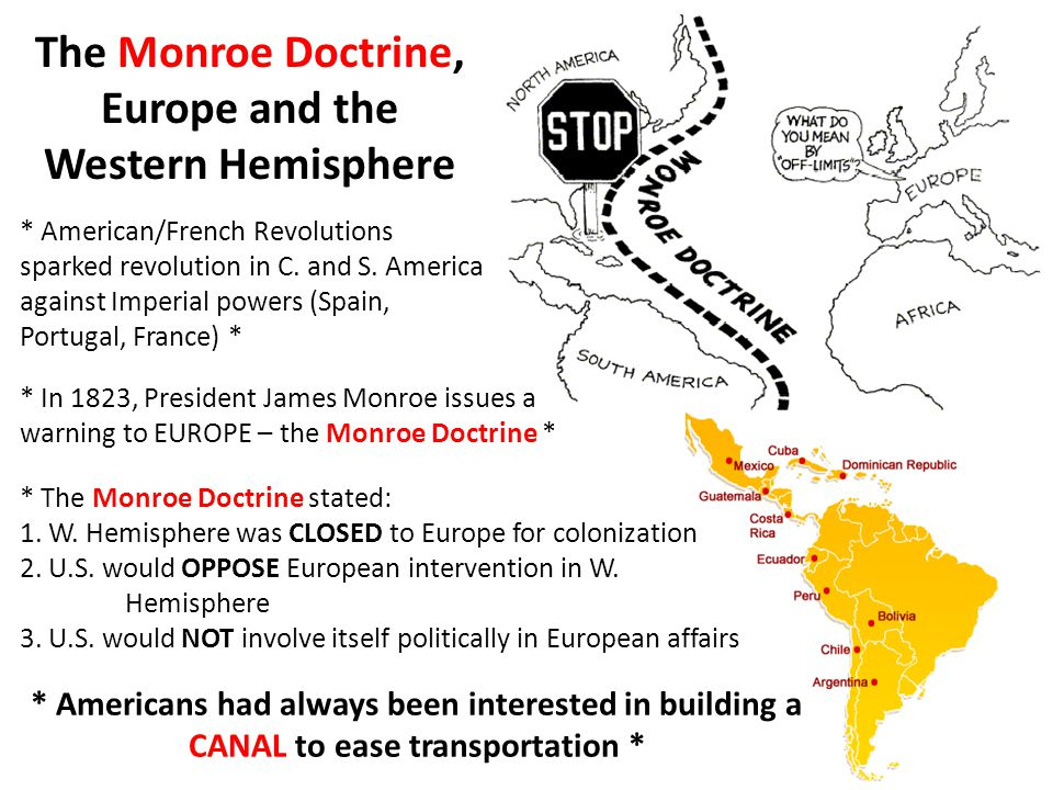 The Monroe Doctrine, Europe and the Western Hemisphere * American/French Revolutions sparked revolution in C.