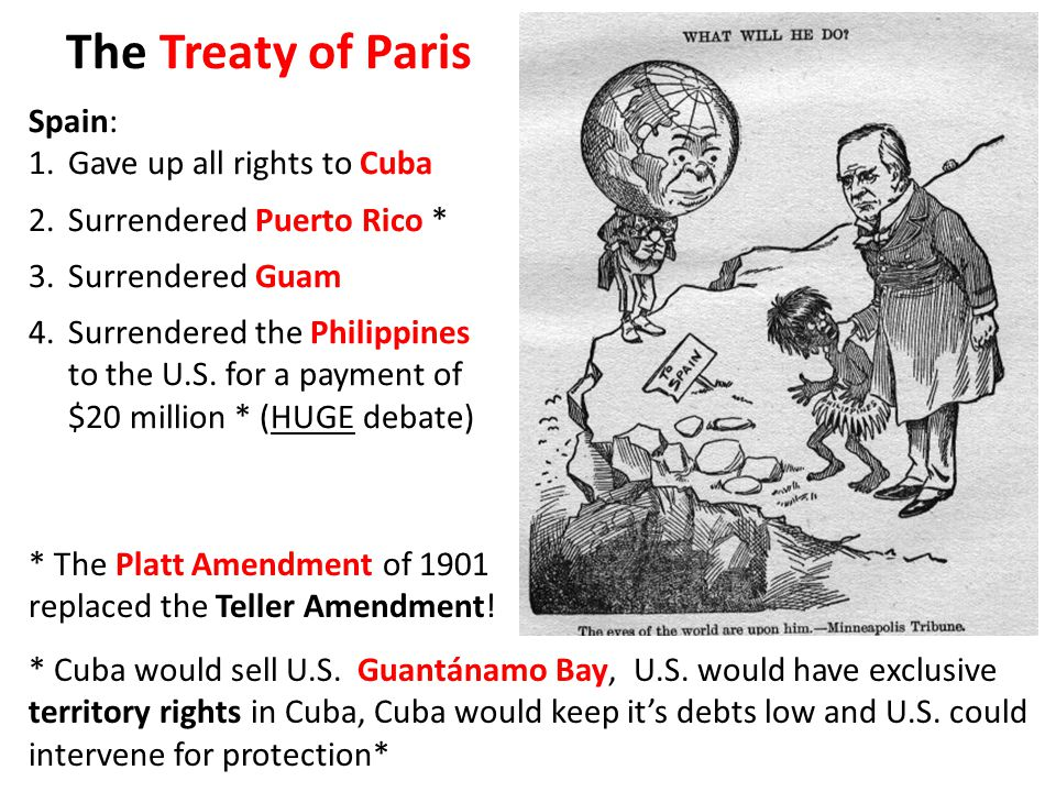 The Treaty of Paris Spain: 1.Gave up all rights to Cuba 2.Surrendered Puerto Rico * 3.Surrendered Guam 4.Surrendered the Philippines to the U.S.
