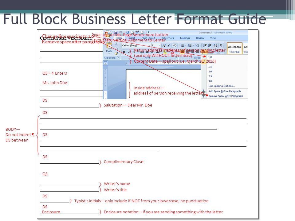 C ENTER P AGE V ERTICALLY C ENTER P AGE V ERTICALLY Full Block Business Letter Format Guide Page Layout tab, Page Setup more button Layout tab, Vertic