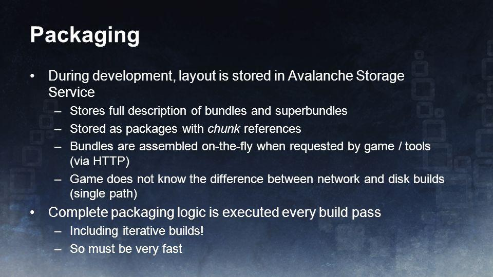 Packaging During development, layout is stored in Avalanche Storage Service –Stores full description of bundles and superbundles –Stored as packages w