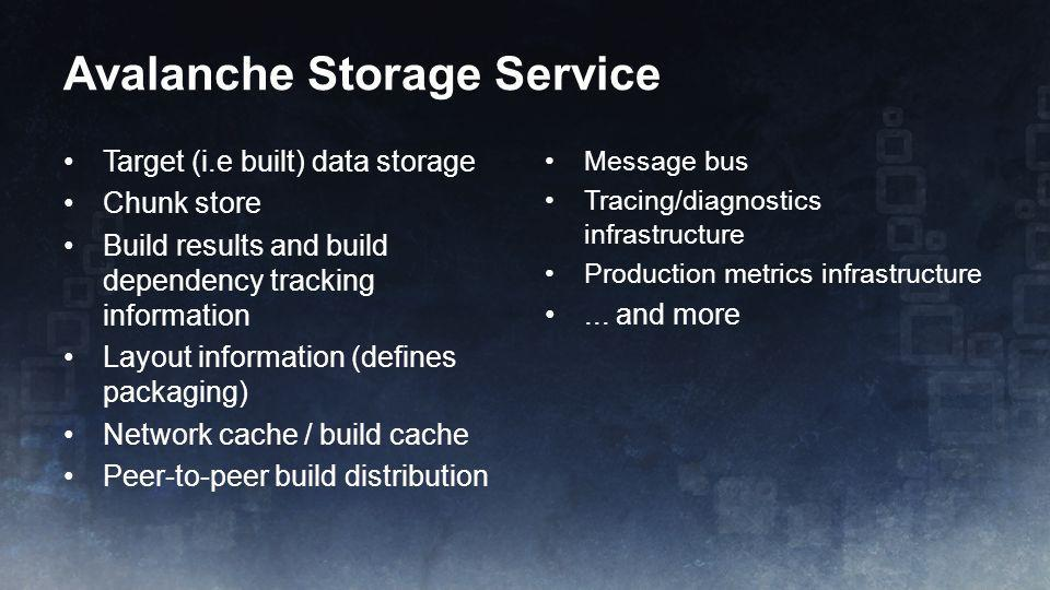 Target (i.e built) data storage Chunk store Build results and build dependency tracking information Layout information (defines packaging) Network cac