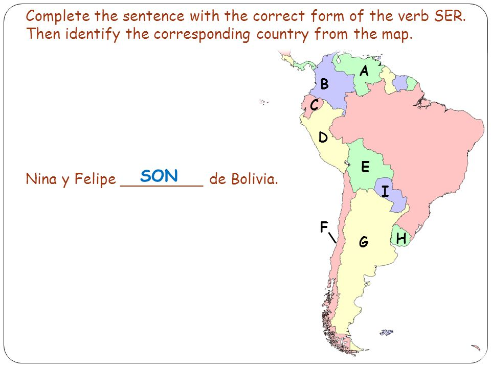 Complete the sentence with the correct form of the verb SER.