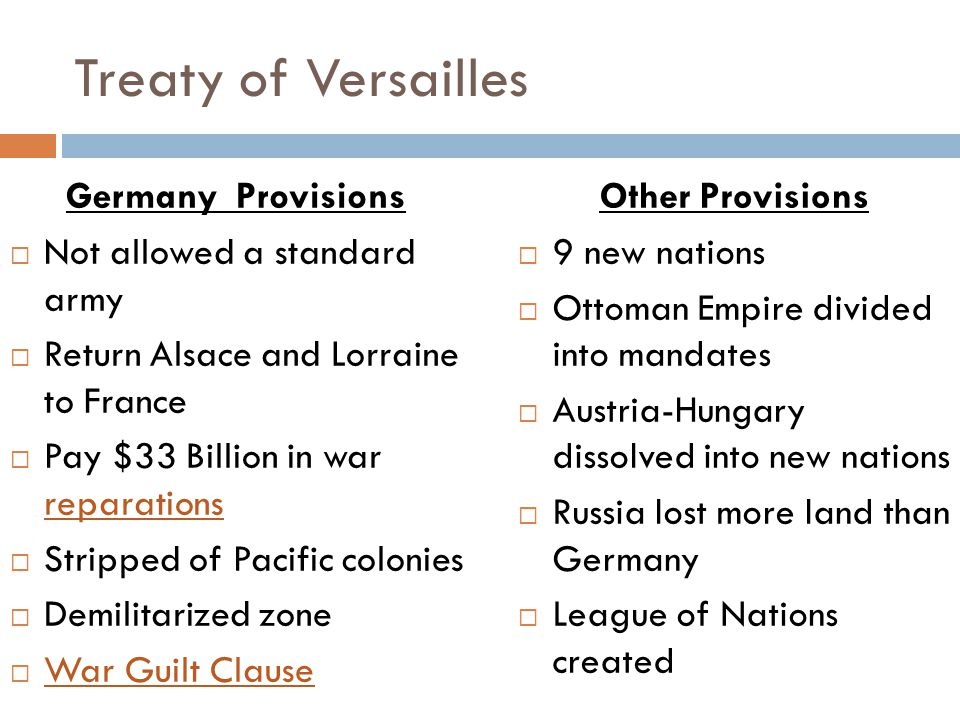 Treaty of Versailles Germany Provisions  Not allowed a standard army  Return Alsace and Lorraine to France  Pay $33 Billion in war reparations  Stripped of Pacific colonies  Demilitarized zone  War Guilt Clause Other Provisions  9 new nations  Ottoman Empire divided into mandates  Austria-Hungary dissolved into new nations  Russia lost more land than Germany  League of Nations created