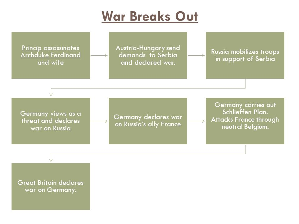 Princip assassinates Archduke Ferdinand and wife Austria-Hungary send demands to Serbia and declared war.