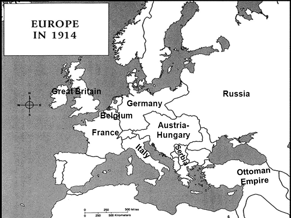 Great Britain France Germany Russia Austria- Hungary Serbia Italy Ottoman Empire Belgium