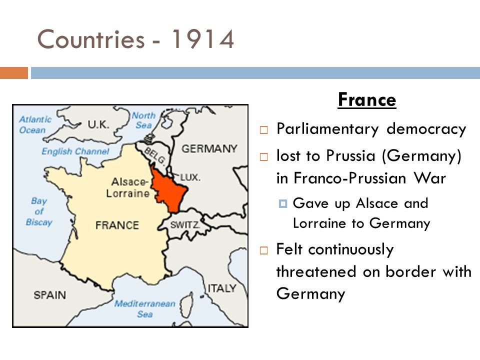 Countries - 1914 Russia  Czar Nicolas II  Absolute monarchy  lost Russo-Japanese War  Large population, but weak army  struggling economically  Recently instituted legislative body for the people, but ineffective  Protector of the Serbs