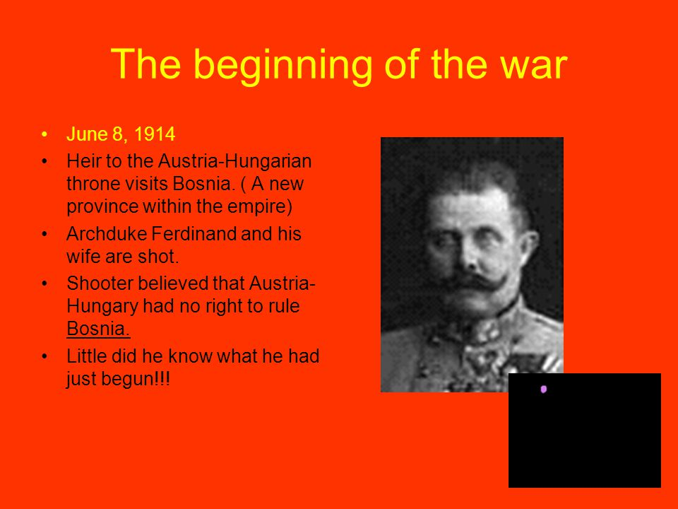 The beginning of the war June 8, 1914 Heir to the Austria-Hungarian throne visits Bosnia. ( A new province within the empire) Archduke Ferdinand and h