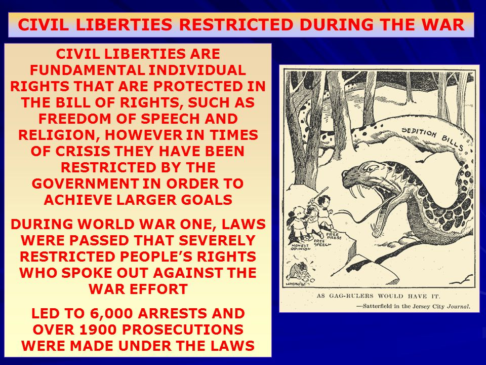 CIVIL LIBERTIES ARE FUNDAMENTAL INDIVIDUAL RIGHTS THAT ARE PROTECTED IN THE BILL OF RIGHTS, SUCH AS FREEDOM OF SPEECH AND RELIGION, HOWEVER IN TIMES O
